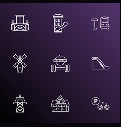 public skyline icons line style set with vector image