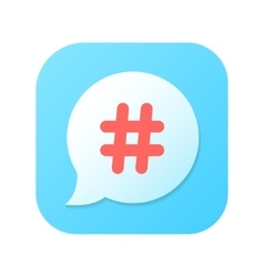 Red hashtag icon on blue gradient speech bubble vector