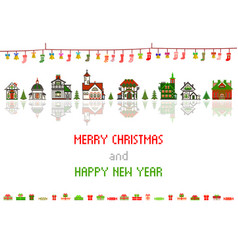 retro pixel christmas greeting card with houses vector image