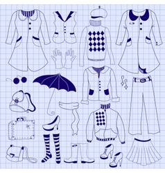 Retro woman clothes drawing pen on notebook sheet vector