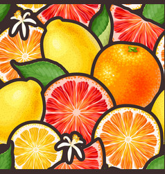 seamless pattern with citrus fruits and flowers vector image