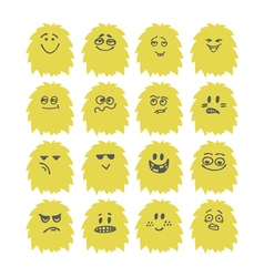 set hand drawn cute smiley monsters collection vector image