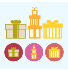 Set icons with gift boxes vector