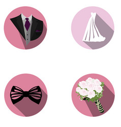 Set of wedding objects vector
