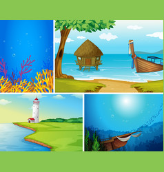 Set outdoor nature background vector