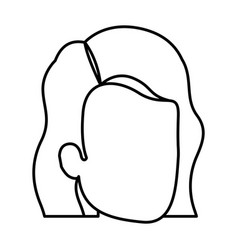 Sketch silhouette of woman faceless with wavy vector