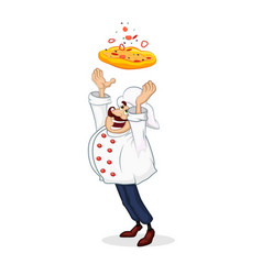 smiling italian chef tossing pizza cartoon vector image