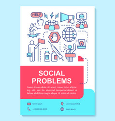 Social problems issues poster template layout vector
