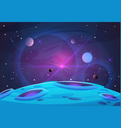 space and planet background planets surface with vector image