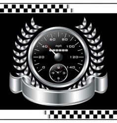 Speedometer racing shield vector