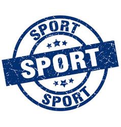 Sport blue round grunge stamp vector
