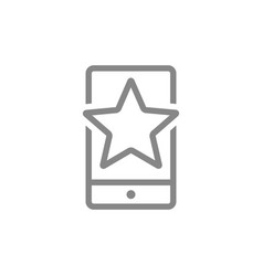 Star with phone feedback line icon mobile app vector