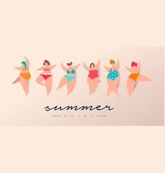 summer season vacation card women in bikini vector image