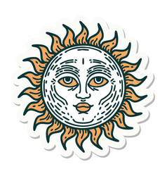 Tattoo style sticker a sun with face vector