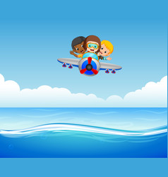 three boys riding plane over sea vector image