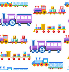 toy trains with kid toys and children playthings vector image
