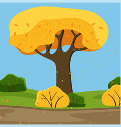 tree with yellow lush crown and thick trunk vector image
