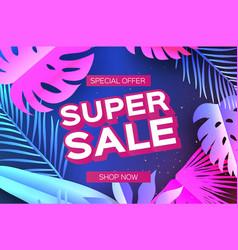 Tropical super sale banne palm leaves plants vector
