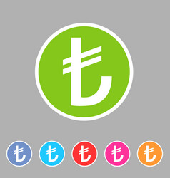 Turkish lira currency sign icon flat web sign vector