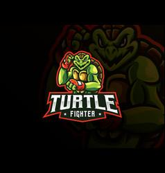 Turtle mascot sport logo design vector