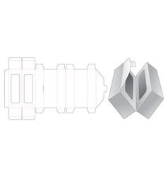 Twin gift box die cut template design vector