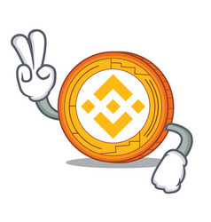 Two finger binance coin character catoon vector