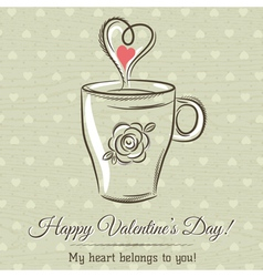 Valentine card with cup of hot drink vector