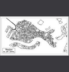 venice italy city map in retro style outline map vector image