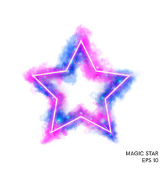 Watercolor magic fire star with neon counter vector