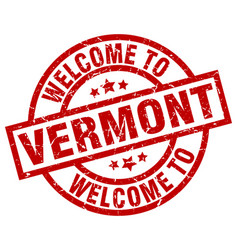 Welcome to vermont red stamp vector