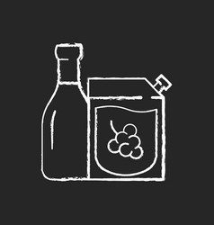 Wine-to-go chalk white icon on black background vector