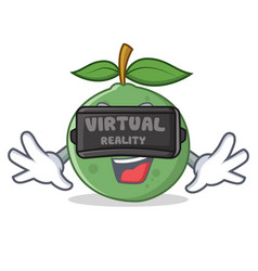 With virtual reality guava mascot cartoon style vector