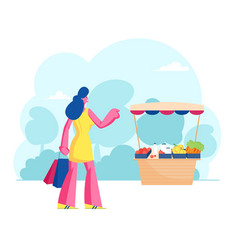 woman buyer stand at desk with farmer fresh vector image