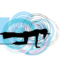 Woman meditating and doing yoga vector