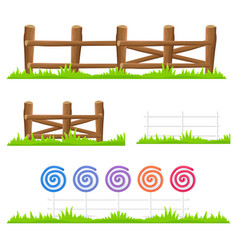 Wooden and candy fence isolated set vector