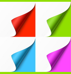 curled colored corners set on color background vector image vector image