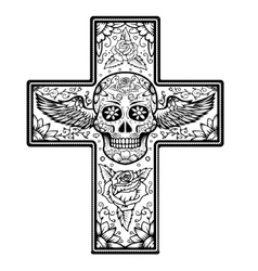 Monochrome Cross with winged sugar skull isolated vector image vector image