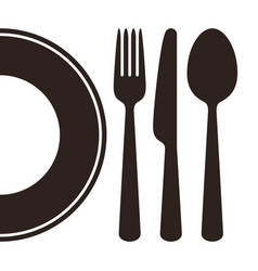 plate knife fork and spoon vector image vector image