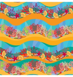Seamless pattern with Coral Reef and Marine life vector image vector image