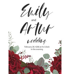 Wedding invitation save the date floral cute card vector