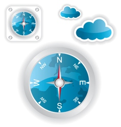 White compass and cloud icons vector image