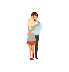 young man hugging his blonde woman embraces of a vector image vector image