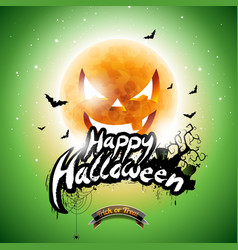 happy halloween with bats and moon on green vector image