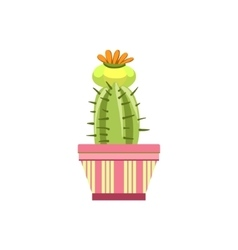 Blooming Cactus In Pink Pot vector image vector image