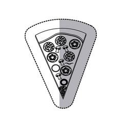Contour piece pizza icon vector