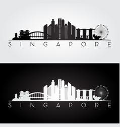 singapore skyline and landmarks silhouette vector image