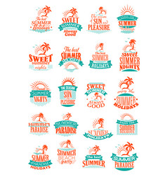 summer holidays or vacation trip icons vector image vector image