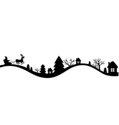 winters landscape with santa sleigh vector image