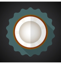 Coconut fruit flat icon with long shadow vector