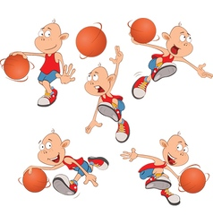 Cute Little Boys Basketball play vector image